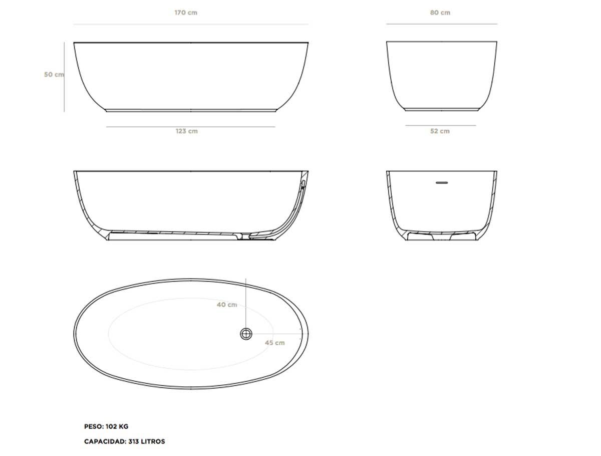 Ba Era Oval Cristalplant Codis Bath: dimensiones de una banera
